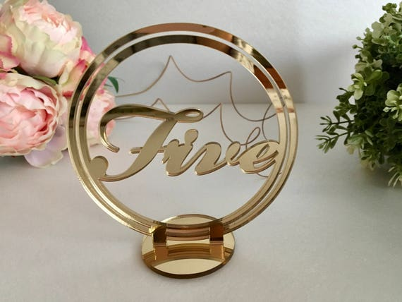 Circle wedding table numbers Freestanding script table numbers Wedding signs Seating plan Mirror table reception numbers Table centerpiece