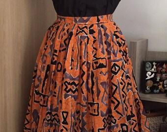 50s batik print skirt