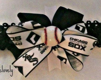 Chicago White Sox Baby Girl Boutique Bow Crocheted Headband