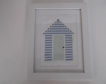 Beach hut picture in cross stitch