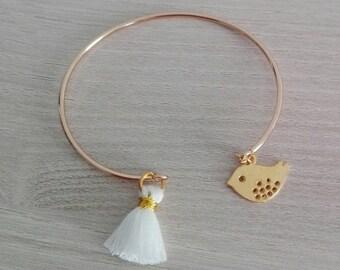White Pompom and sequin bird gold plated Bangle Bracelet