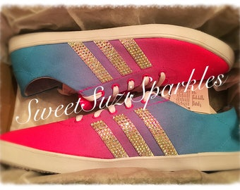 Custom Embellished ADIDAS vs qt vulc, AB Crystals, NEW!!!