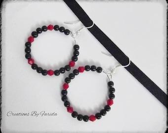 Hoop earrings with black and Burgundy beads
