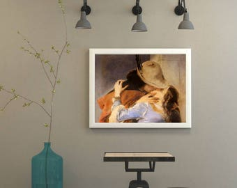 "Hand painted, Custom art, pencil drawing on paper-reproduction of famous paintings (""The Kiss"" by Francesco Hayez)"