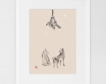 Two Shiba Inu Under Mistletoe (LARGE) Art Print Poster Unique Sumi-e Painting Japanese Cute dog Couple Ink Animal Illustration Asia Zen