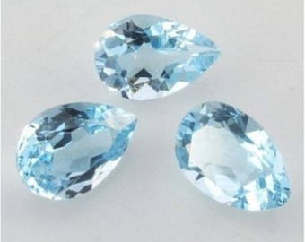 Lot Of 10 Pieces Sky Blue Topaz pear cut faceted Calibrated loose gemstone for jewelry