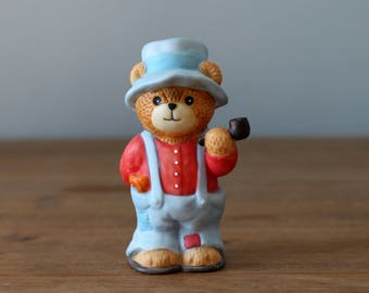 Lucy Rigg Lucy and Me Bear with Pipe in Overalls Enesco 1986