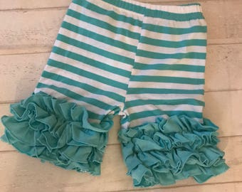 SALE SUMMER Blowout! Toddler girls ruffled Aqua shorts, girls icing style shorties CLEARANCED