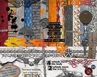 """Motorcycle Scrapbook Kit - """"Born To Ride"""" digital scrapbook motorcycles or dirt bikes with grungy papers, helmet, tattoo, bike chain, key"""