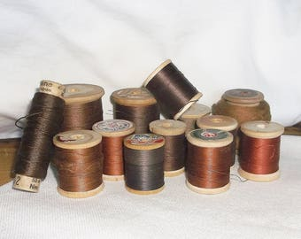 13 vintage Brown Shades Wooden Spool Thread