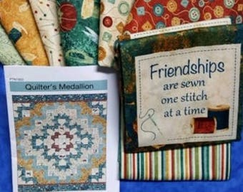 Quilters Medallion Quilt Kit - uses Northcott A Stitch in Time fabric collection