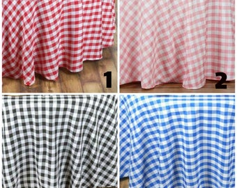 """ROUND Gingham tablecloth 120"""" round tablecloth baby shower wedding tablecloth event tablecloth table overlay table linens table topper"""