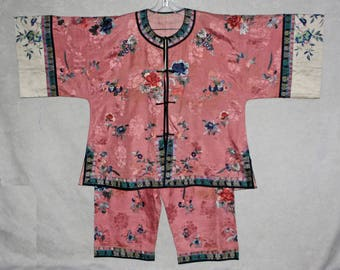 antique vintage Chinese embroidered matching top and pants