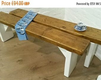 Summer Sale Free Delivery! F&B Painted 4ft Hand Made Reclaimed Old Pine Beam Solid Wood Dining Bench - Village Orchard Furniture