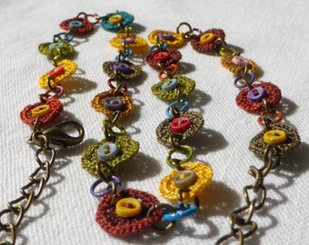 crocheted silk necklace