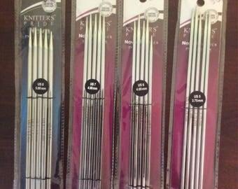 Knitters Pride Nova Platina 8 inch DPN Needles  multiple sizes