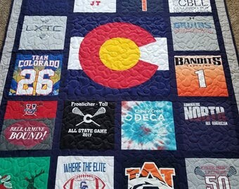 Twin Size Custom T-Shirt Quilt Custom Memory Quilt Made : quilts made from sports jerseys - Adamdwight.com