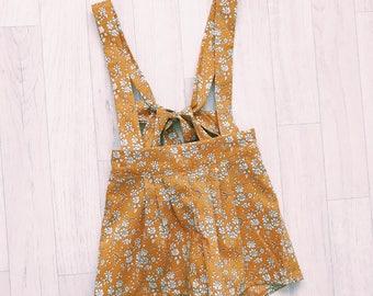 IDA Liberty Print Girls Suspender Shorts, Straight Hem, Handmade Liberty of London Tana Lawn