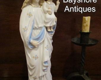 Antique 1900 German Madonna With Child Jesus Bisque Porcelain Statue Hallmarked (NBA-787)