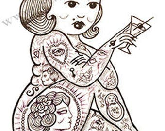 Coffee Cup Tattoo Girl Pixie Print