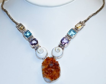 One of a kind Genuine Citrine Cluster with Chakra Shell, Amethyst, Blue Topaz, Citrine  set in Solid 925 Sterling Silver Necklace