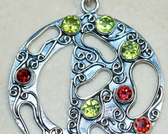 Stunning Garnet with Peridot  set in Solid 925 Sterling Silver Pendant