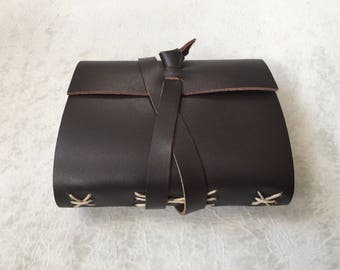 Leather Notebook - Espresso - Leather wrap notebook - 3.5 x 4.5