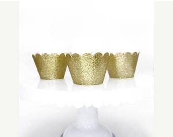 ON SALE Glitter Gold Cupcake Wrappers, Standard Size Cupcake Wrappers, Custom Color Cupcake Wrappers