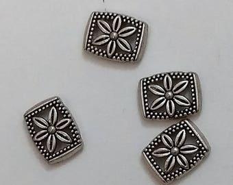 Silver Floral Slide Beads (4)