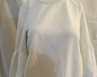 White Women's Shirt with Puffed Sleeves