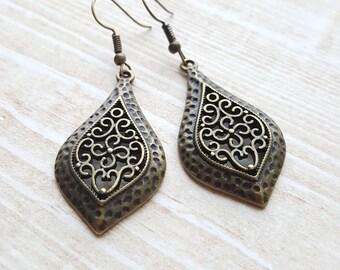 Brass Bohemian Earrings | Bohemian Gypsy Earrings | Brass Ethnic Filigree Earrings | Moroccan Earrings |  |