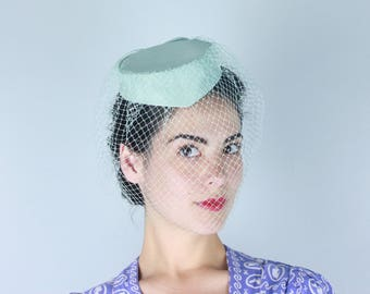 Vintage 1960s Hat | Light Blue Peaked Front Pillbox Hat with Veil