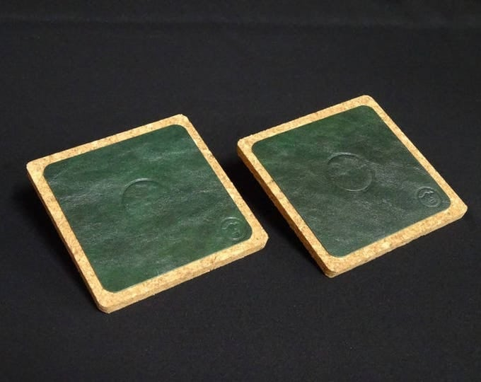 James Coaster - Aquatic Green - Set of 2 - Handmade using genuine kangaroo leather