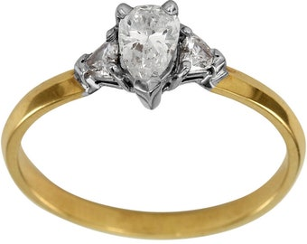 Pear Shape Diamond Engagement Ring With Two Side Trillions In 14K Yellow Gold Ring