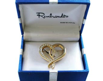 Rembrandt Heart Brooch, In Gold Tone With Rhinestones, Gift For Her