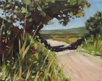 Countryside Road in Provence - landscape, oil, painting, fine Art