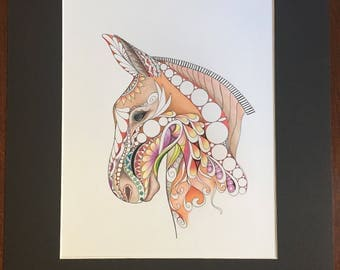 Zentangle mule,mule art,equestrian art,colored mule,colored zentangle,zentangle art,ink colored pencils,marker art,wall decor,wall art