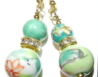 Earrings, GREEN, Mint to Emerald, Jade, Dangles, Gold