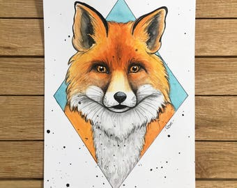 Fox portrait, Original Watercolor Illustration, A5 size