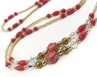 Beaded Eyeglass Chain/Holder-Dark Coral~ Swarovski ~ Gold
