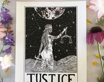 Tarot Card Print • 'Justice' • by Madison Ross