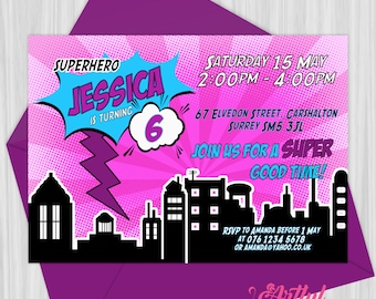 Printable Pink Superhero Invitation | Personalized