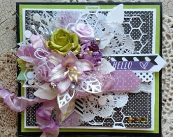 """Beautiful Handmade Lavender and Green Shabby Chic """"Hello"""" Greeting Card #WC2017-3"""