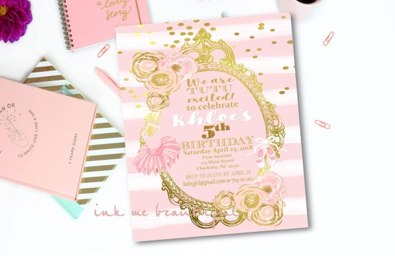 Ballerina birthday invitation tutu baby tutu cute pink and gold il570xn filmwisefo Image collections