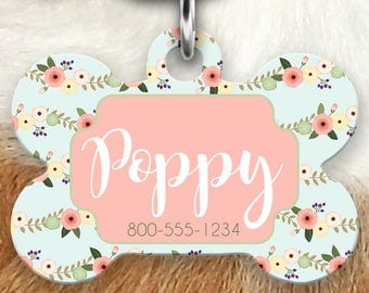 Floral Pet ID Tag, Personalized Dog Tag, Tag for Dogs, Dog Tag for Collar, Dog ID Tags, Pet Gifts, Personalized Pet Tag, Dog ID Tag, Dog Tag