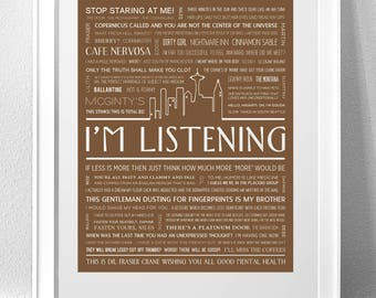 """FRASIER, """"I'm Listening"""" Typography Print"""