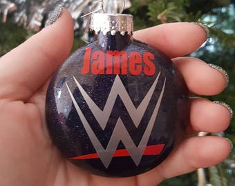 Personalized WWE Ornament, WWE Ornament, WWE Glitter Ornament,  Glitter Ornament