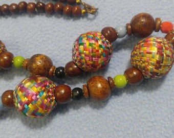 """Huge Colorful Woven Beads and Smaller Wooden and Lucite Beads Necklace 36"""" long"""
