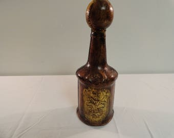 Very Nice Leather Covered Wine Bottle/Decanter Made in Italy