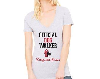 Official Dog Walker V-Neck Tee